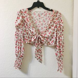Urban outfitters Coco +Jaimeson floral bow tie top